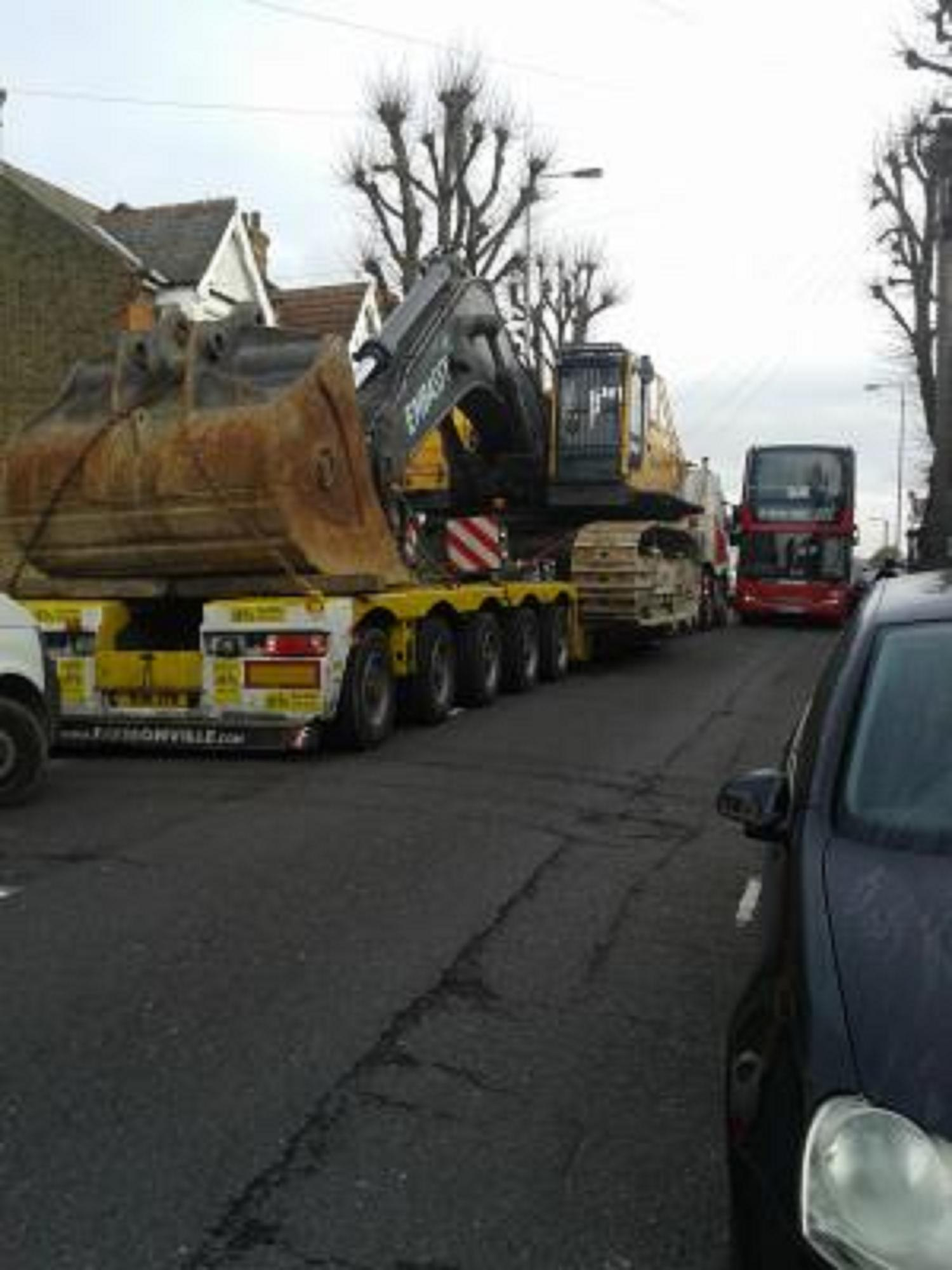 The lorry and digger blocking Winchester Road.