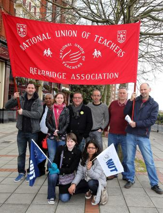 Striking teachers from Redbridge meet in Wanstead before an NUT rally in central London.
