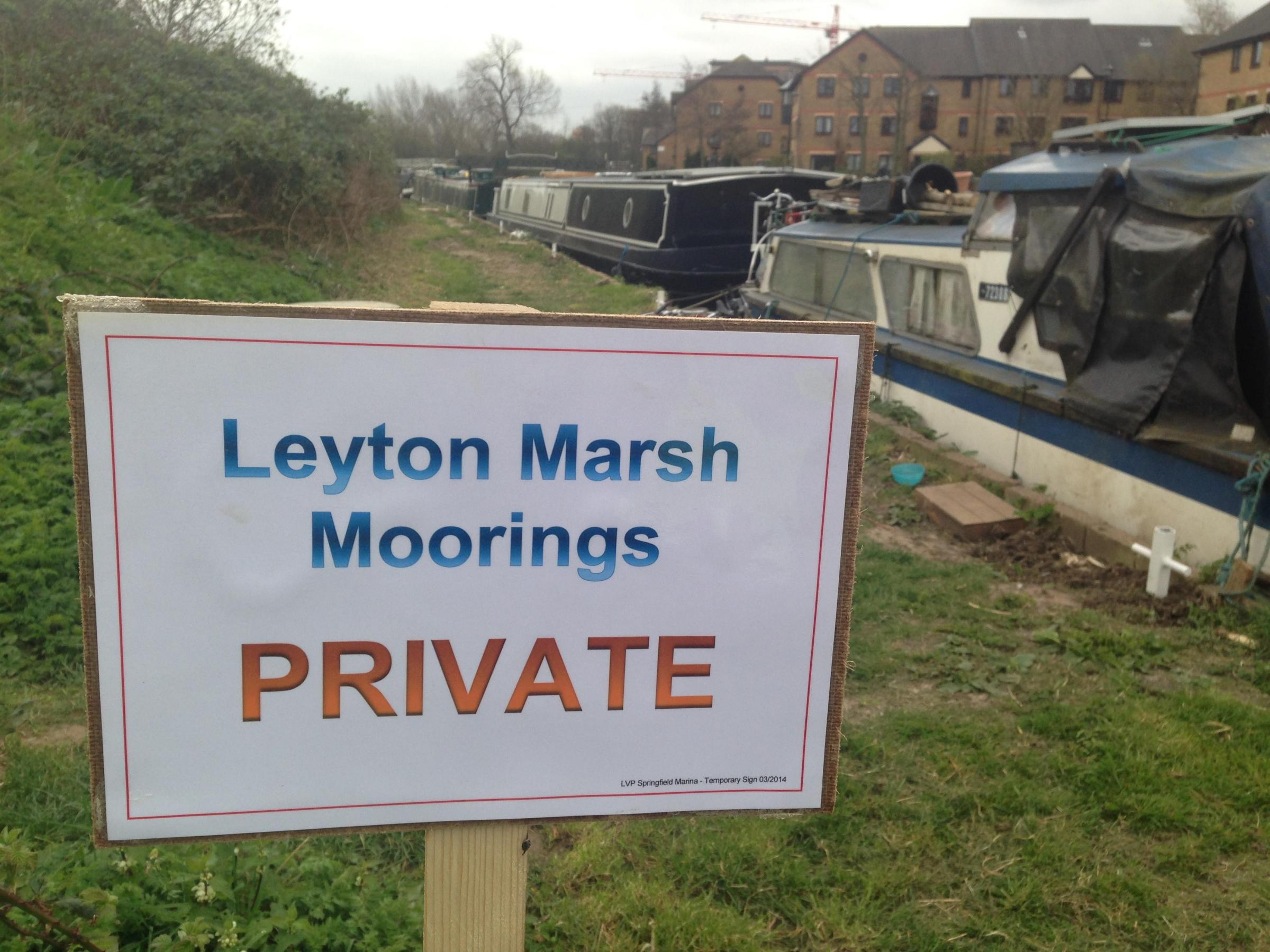 The signs erected last week by the Lee Valley Regional Park Authority.
