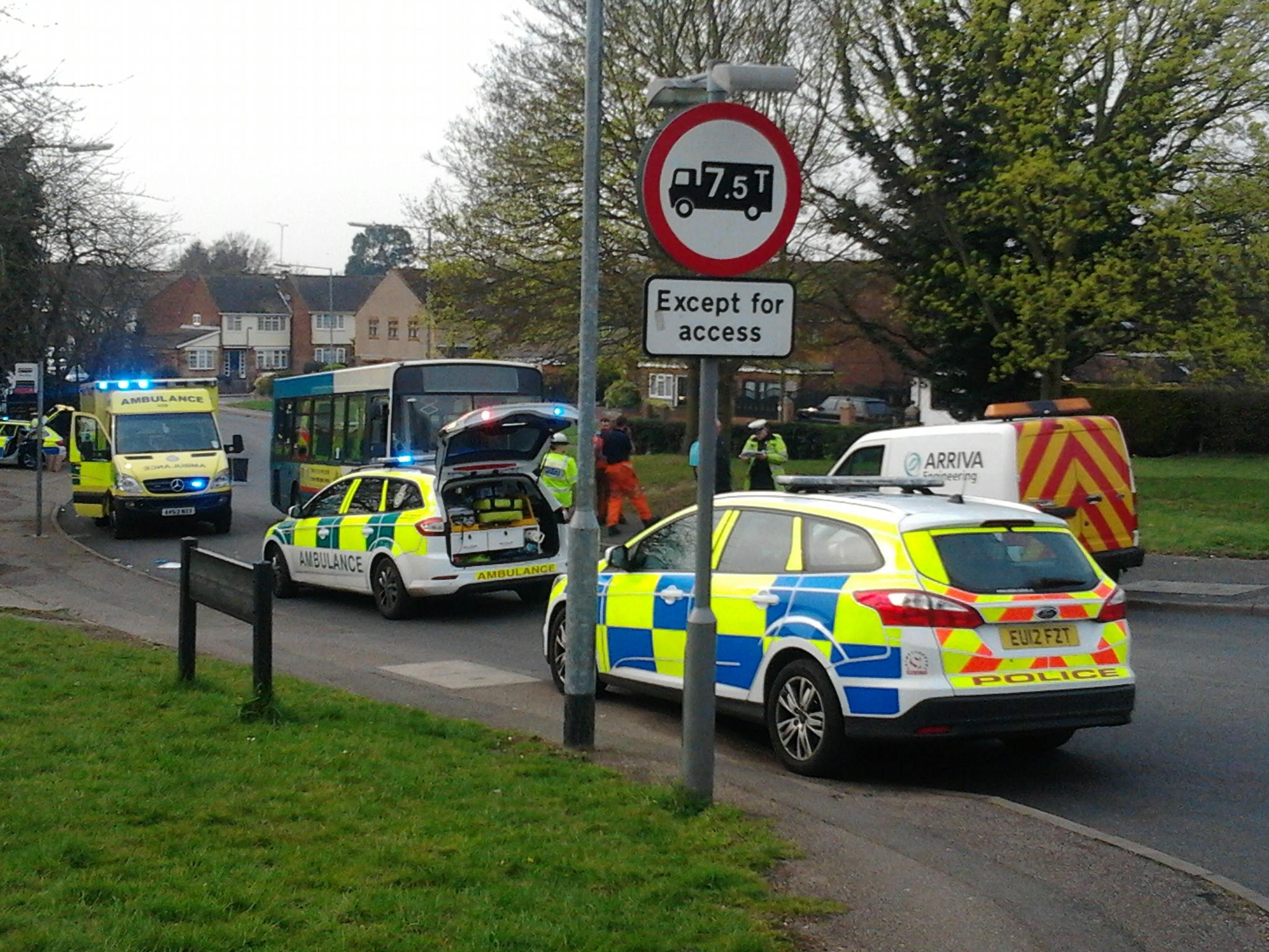 Emergency services at the scene of the collision in Broomstick Hall Road, Waltham Abbey