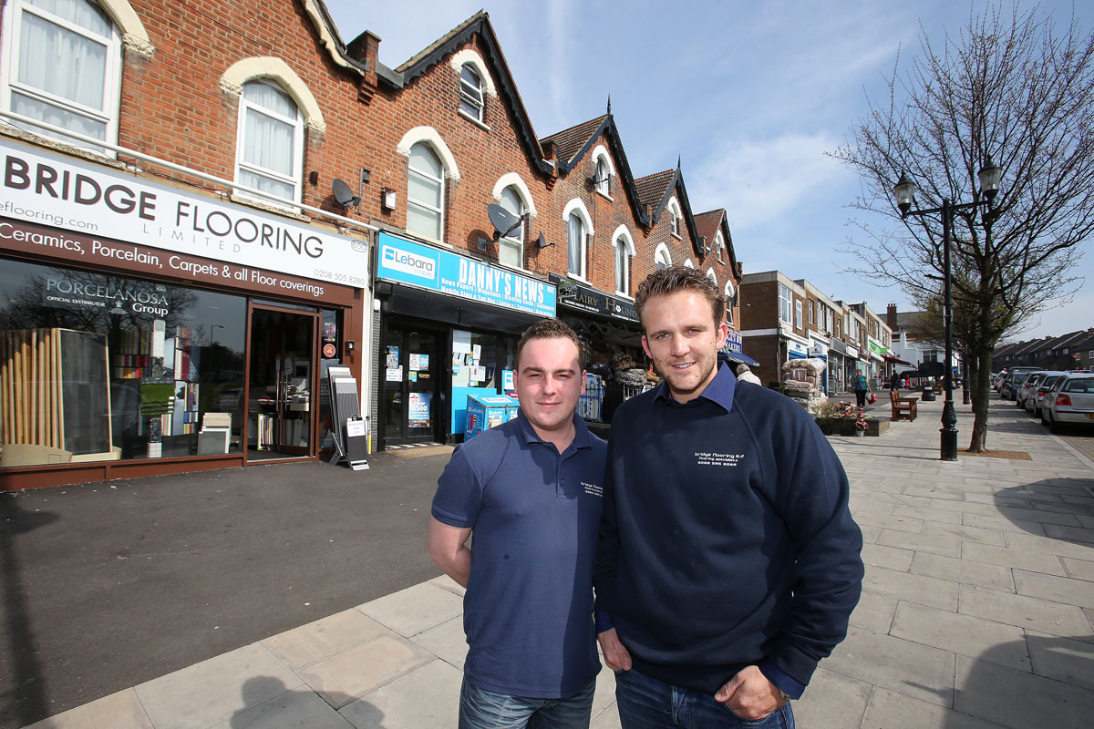 Luke Dillingham and Tommy O'Hara of Bridge Flooring are happy with £1.7 million being spent on Woodford Bridge town centre.