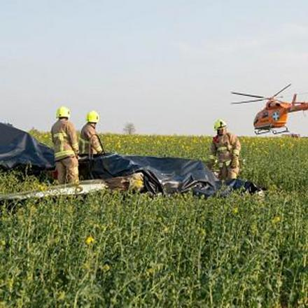 The YAK 52, which crashed into a field near Ongar on Saturday afternoon
