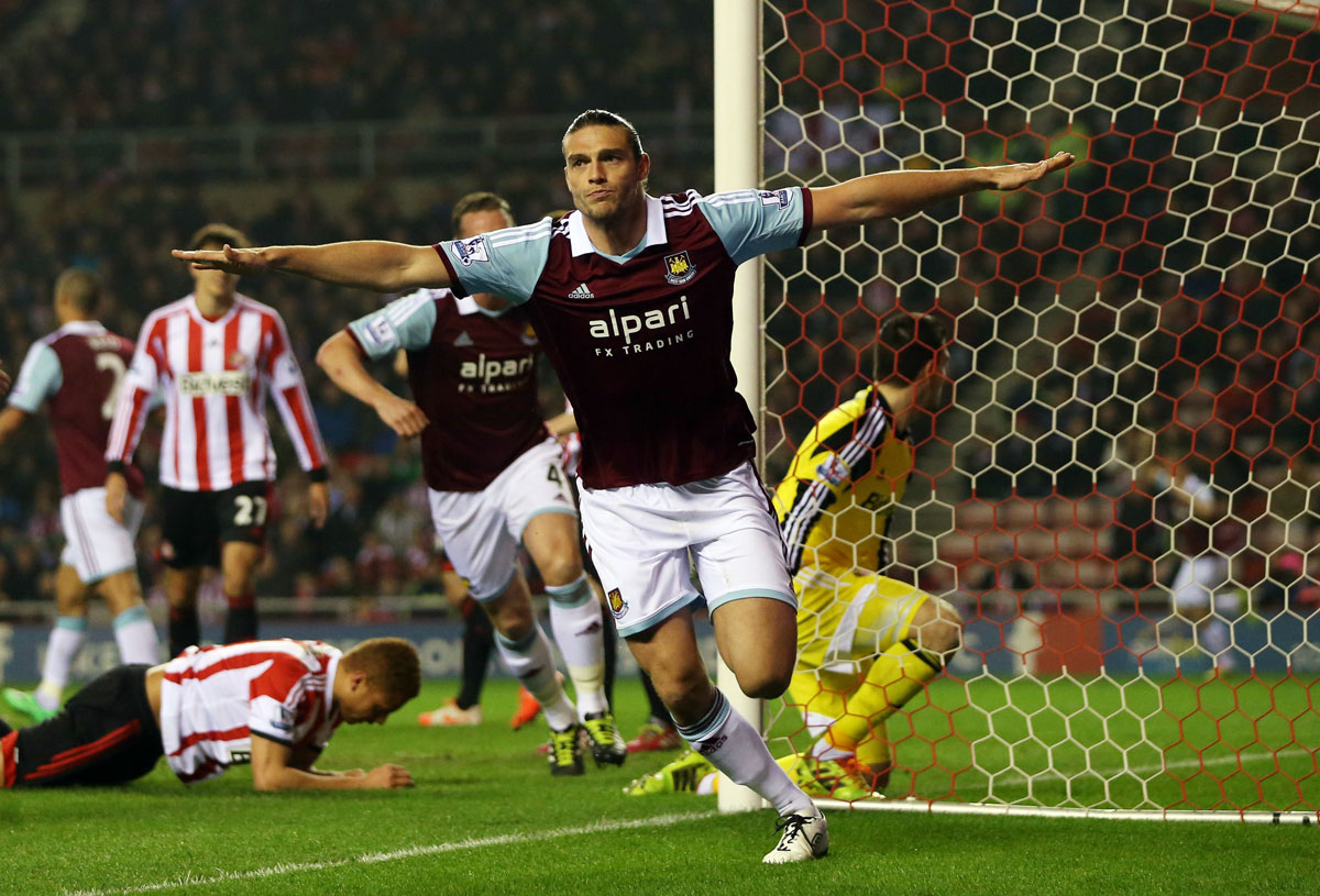 Take off at the Stadium of Light: Andy Carroll celebrates after putting West Ham in front tonight. Picture: Action Images