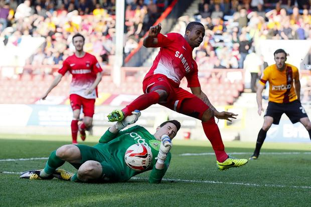Kevin Lisbie toils away against Bradford on Saturday: Simon O'Connor