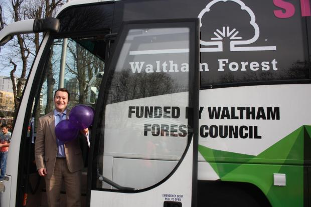 Councillor Mark Rusling, cabinet member for economic development and corporate resources, on board the new jobs bus.