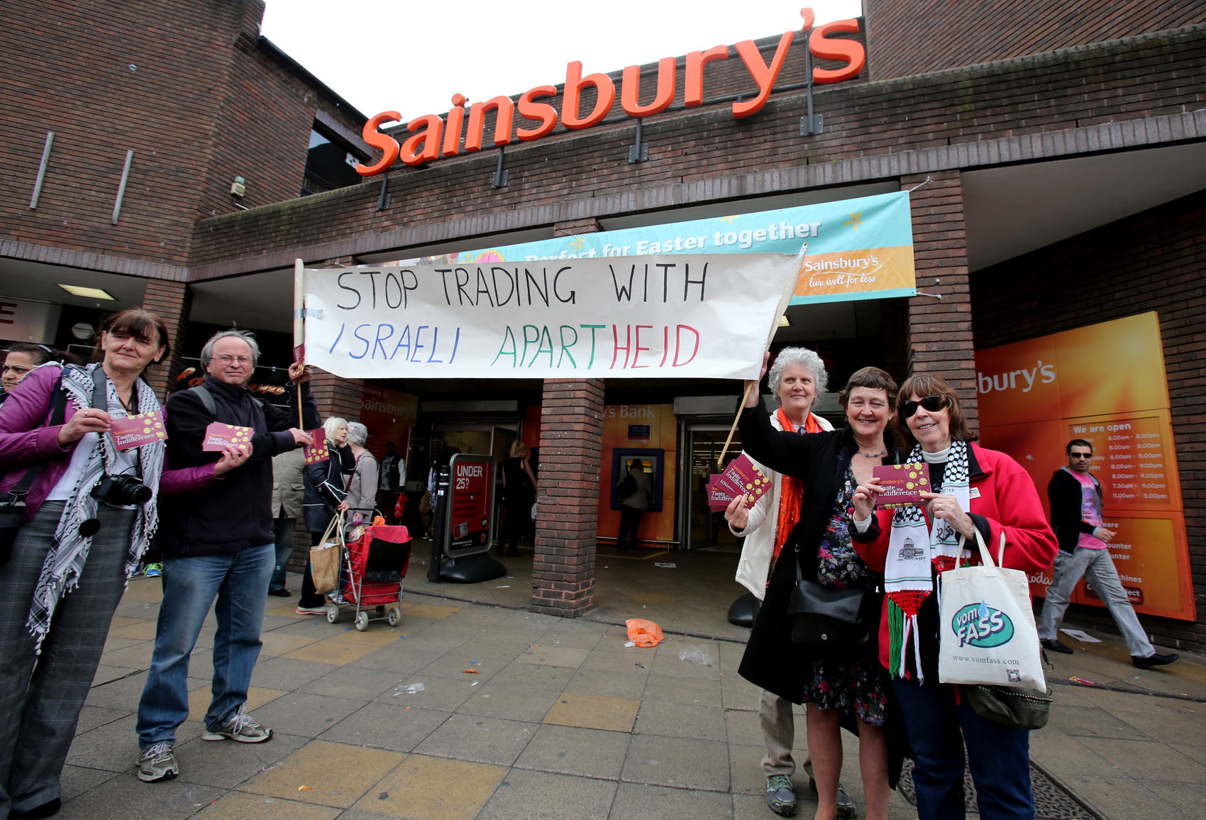 Waltham Forest Palestine Solidarity Campaign demonstrators outside Sainsbury's in Walthamstow.