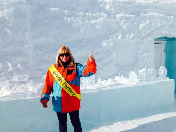 East London and West Essex Guardian Series: Avril Mills outside the Ice Hotel in Sweden