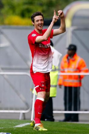 David Mooney celebrates scoring 20 goals this season: Simon O'Connor