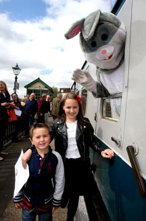 Happy customers Francesca, 9, and Lenny Spoor, 5, meet the Easter Bunny at the railway earlier this year