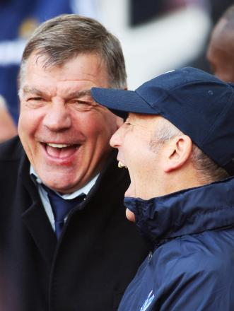 Sam Allardyce and Tony Pulis share a joke before Palace's 1-0 win over West Ham on Saturday. Picture: Action Images