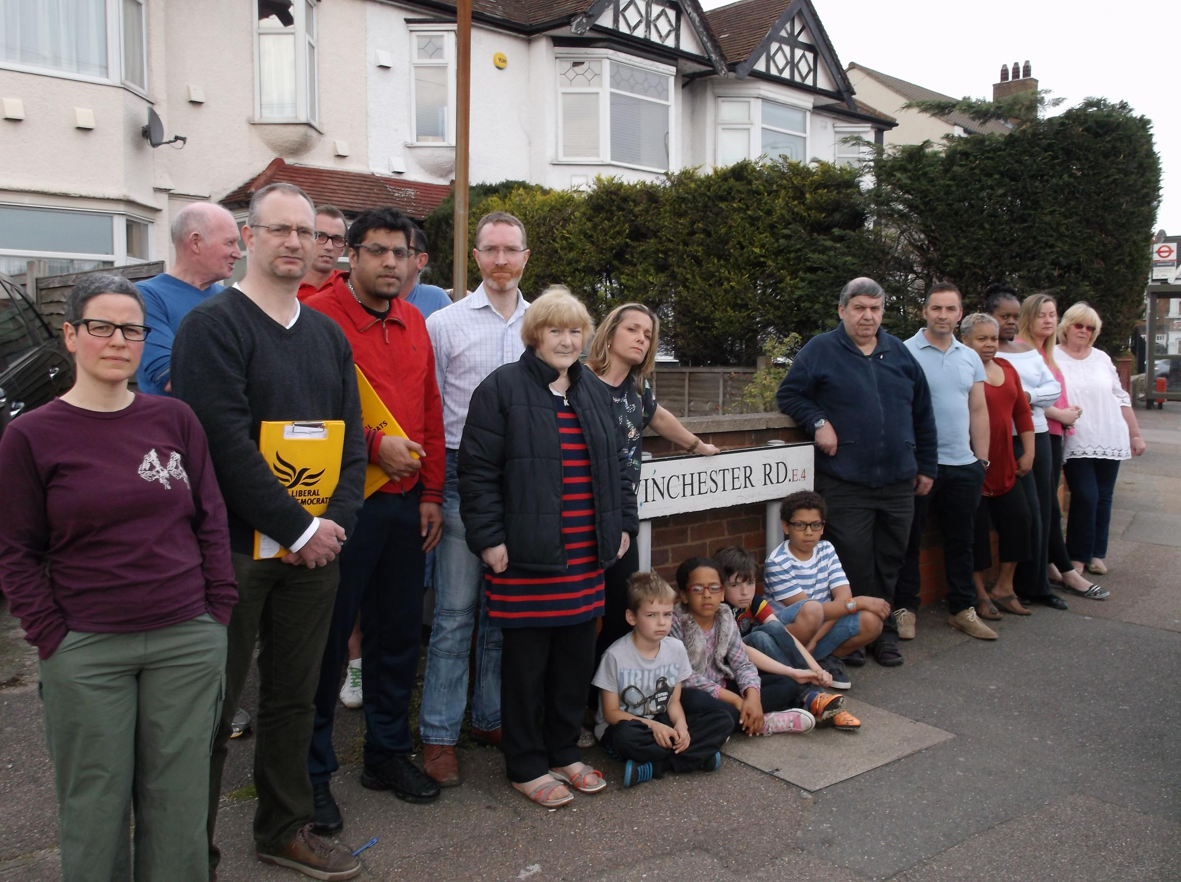 Karen Murray (centre) with concerned residents at the top end of Winchester Road