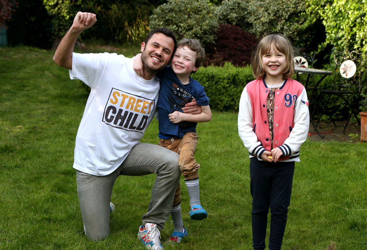 Christopher Shepherd of Woodford Green has almost reached his £2,000 target pictured with children Dylan and Annabella