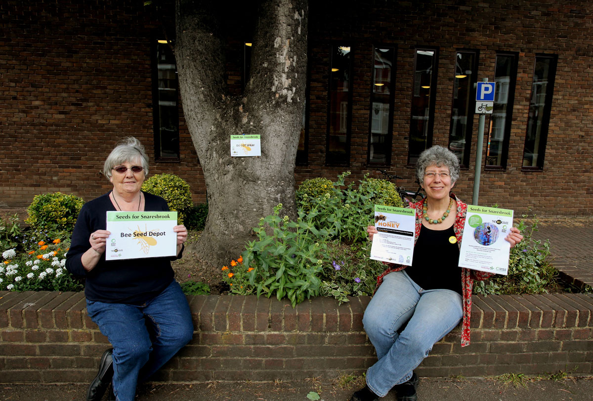 Ann Williams and Diana Korchien urge residents to plant wildflowers throughout Wanstead