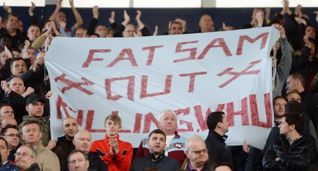 East London and West Essex Guardian Series: West Ham fans make their feelings clear on Sam Allardyce at West Brom on Saturday. Picture: Action Images