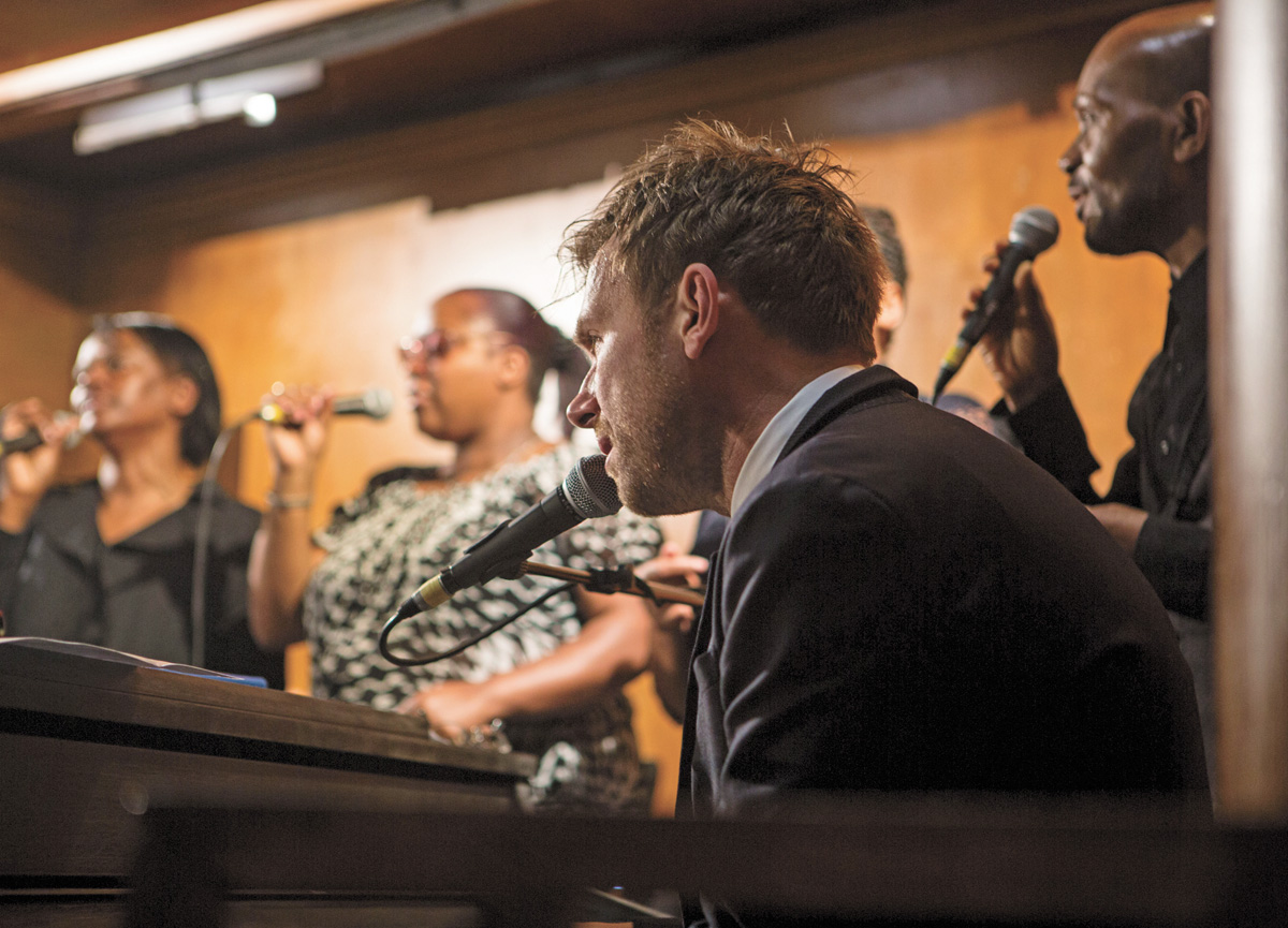 Damon Albarn performed segments of his new album Everyday Robots at Leytonstone Library alongside his band The Heavy Seas, The Pentecostal City Mission Church Choir and Demon Strings  (photo: Andy Willsher)