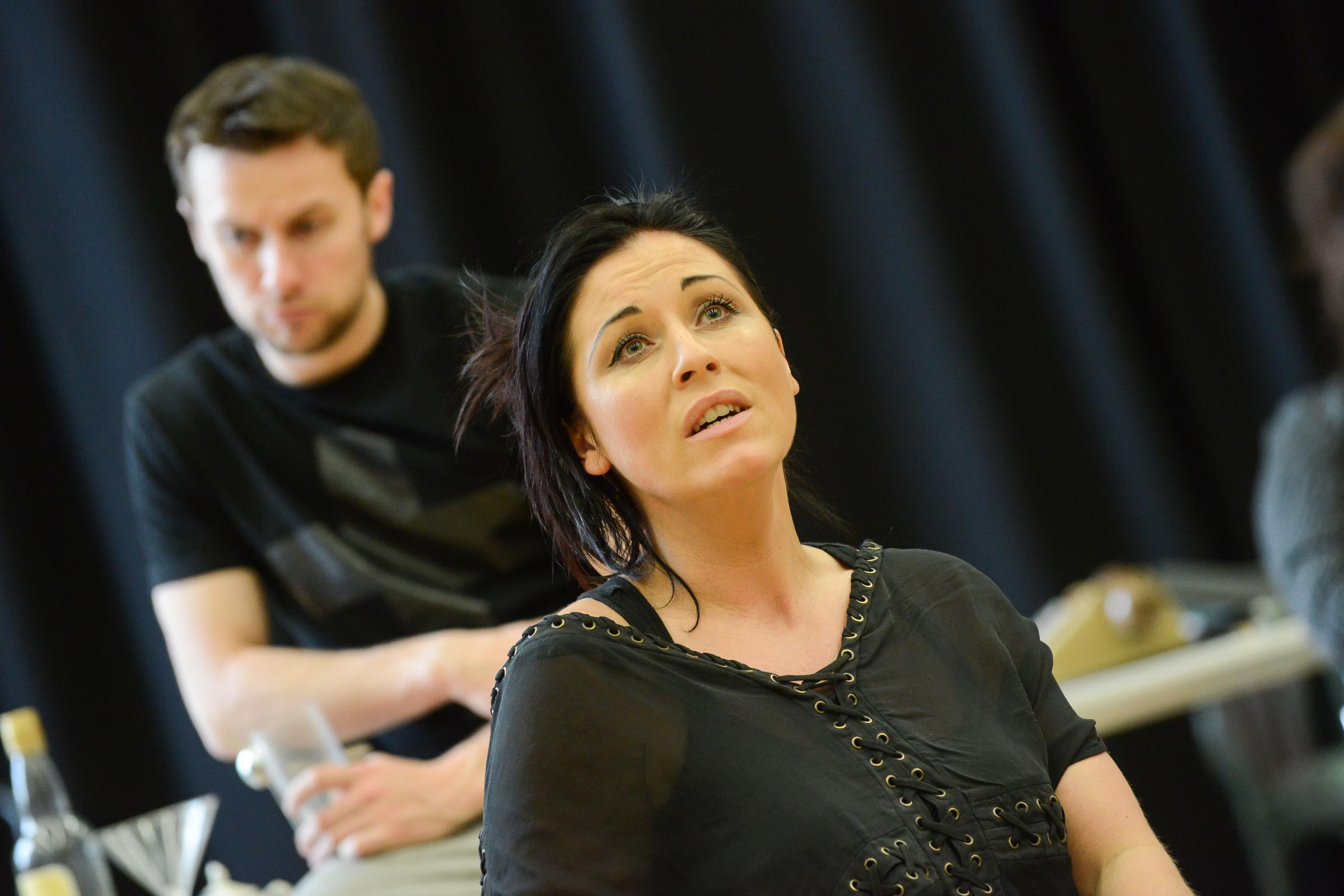 Jessie Wallace in rehearsal for Fings Ain't Wot They Used T'Be (photo: Robert Day)