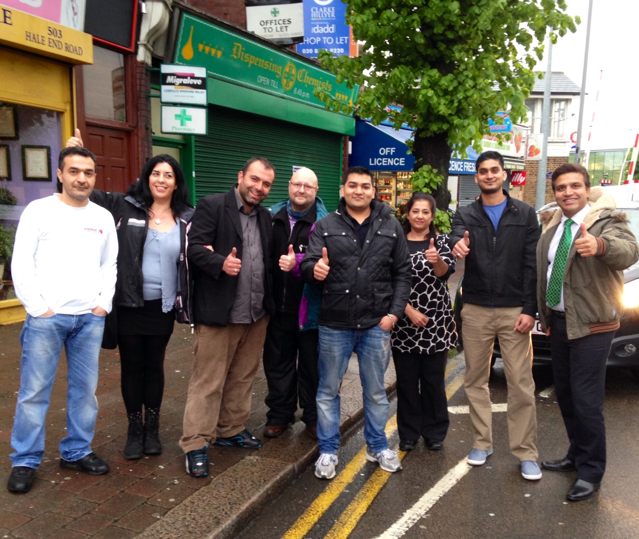 Traders with councillor's Sheree Rackham, Paul Braham and Darshan Sunger at where the new bays will be in Hale End Road