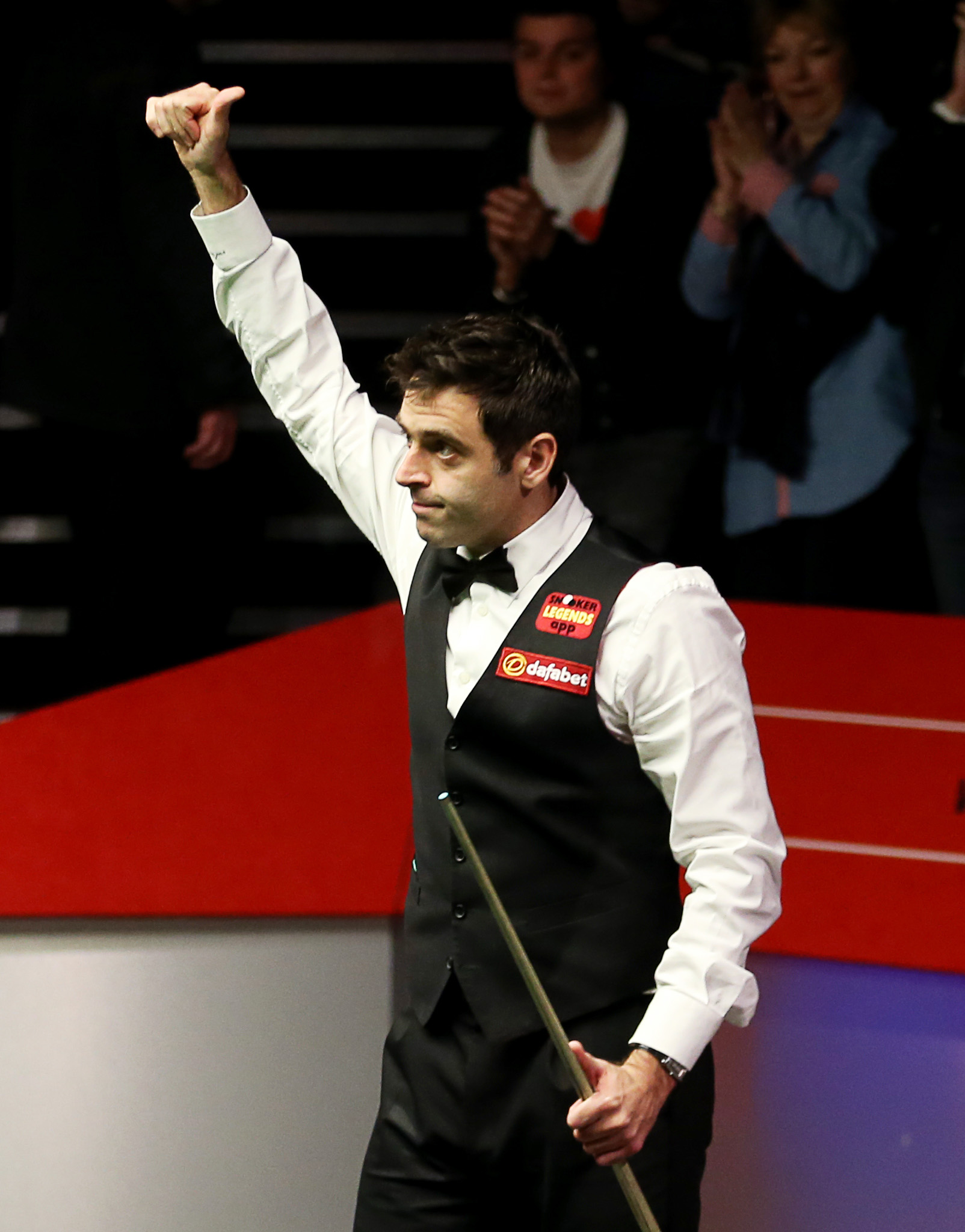 Ronnie O'Sullivan celebrates reaching the World Chamionship final. Picture: Action Images