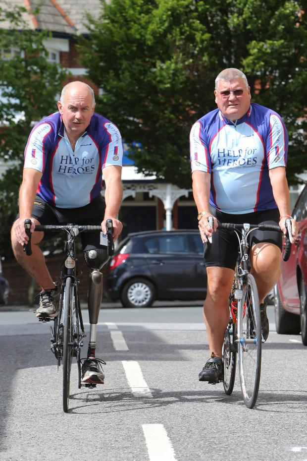 East London and West Essex Guardian Series: Former policeman Malcolm Hingle with friend James Snark ahead of the BBBR challenge