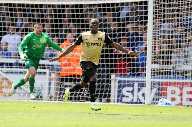 Moses Odubajo celebrates Orient's equaliser at London Road on Saturday
