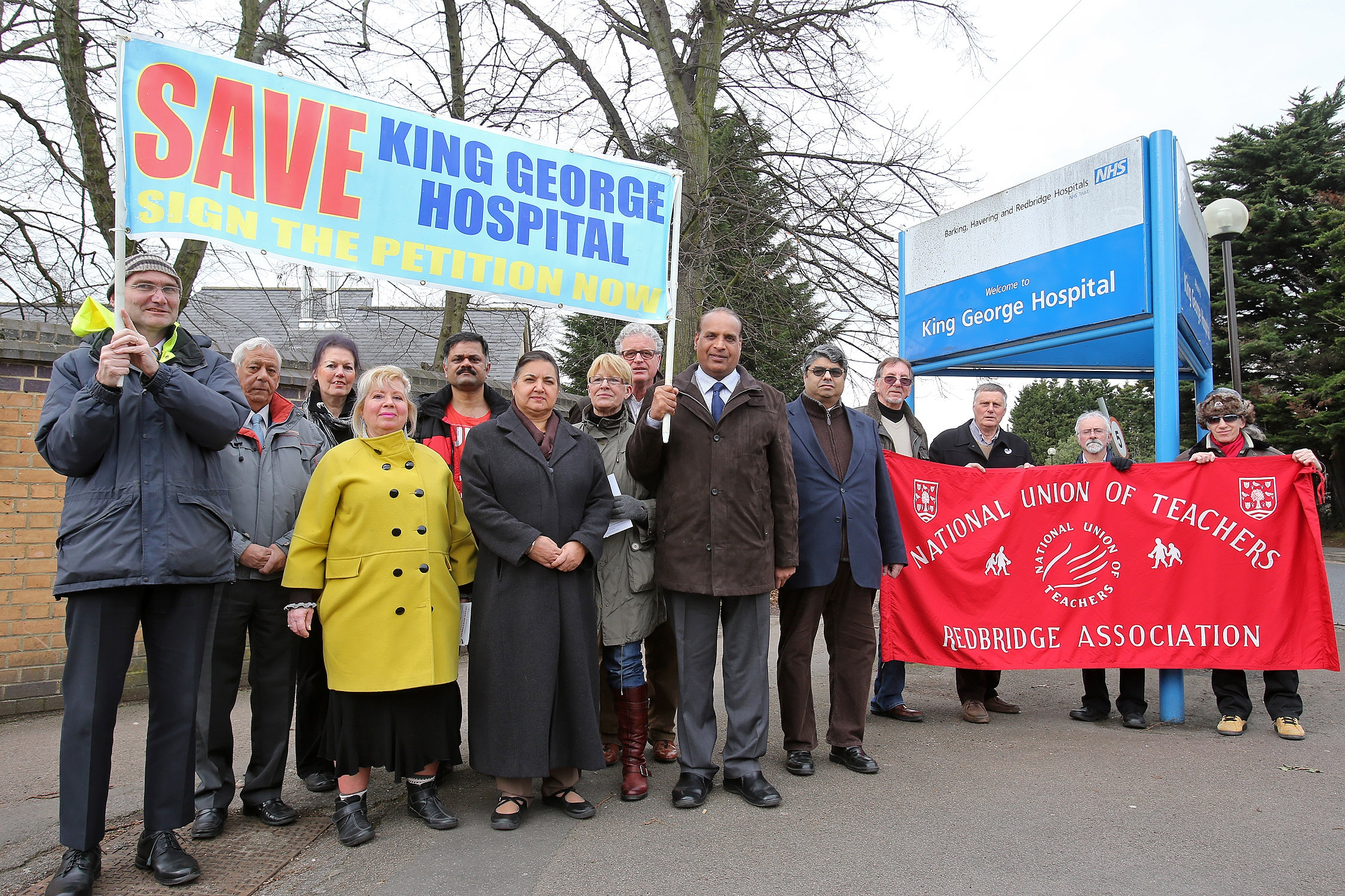 Save King George protestors outside the hospital in February