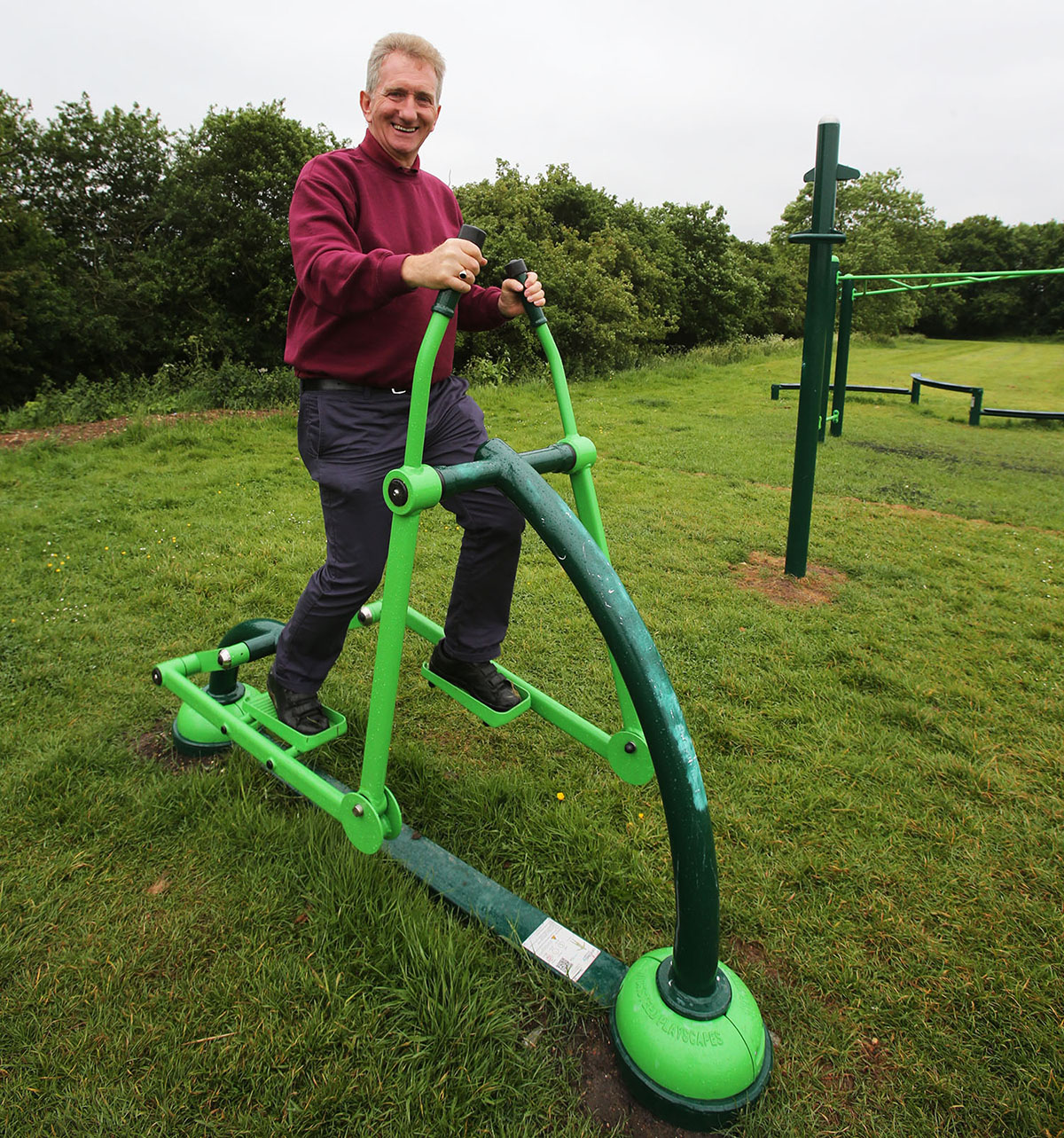 Phil Morton tries out some of the new outdoor gym equipment