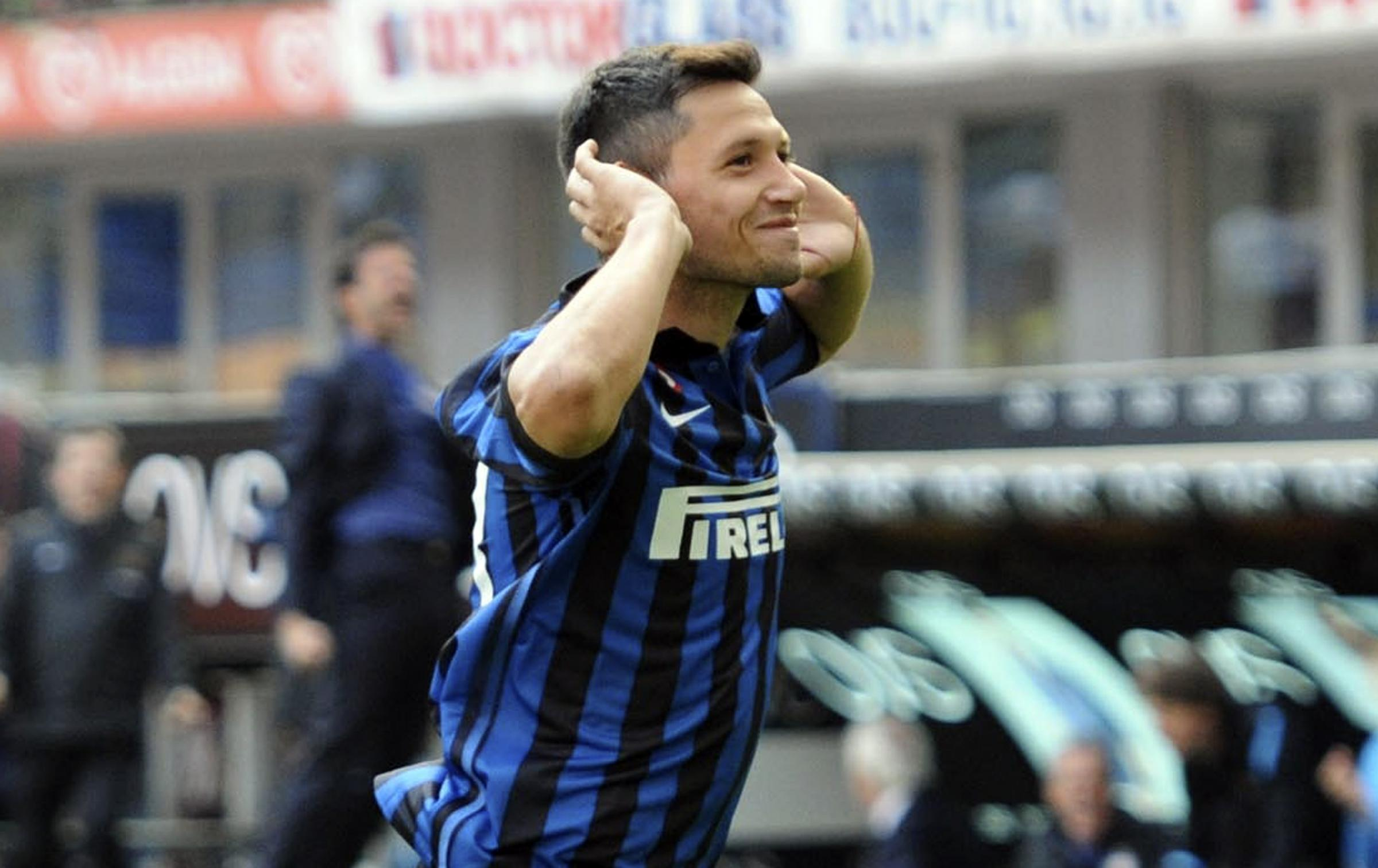 Mauro Zarate celebrates scoring during a loan spell at Inter Milan. Picture: Action Images