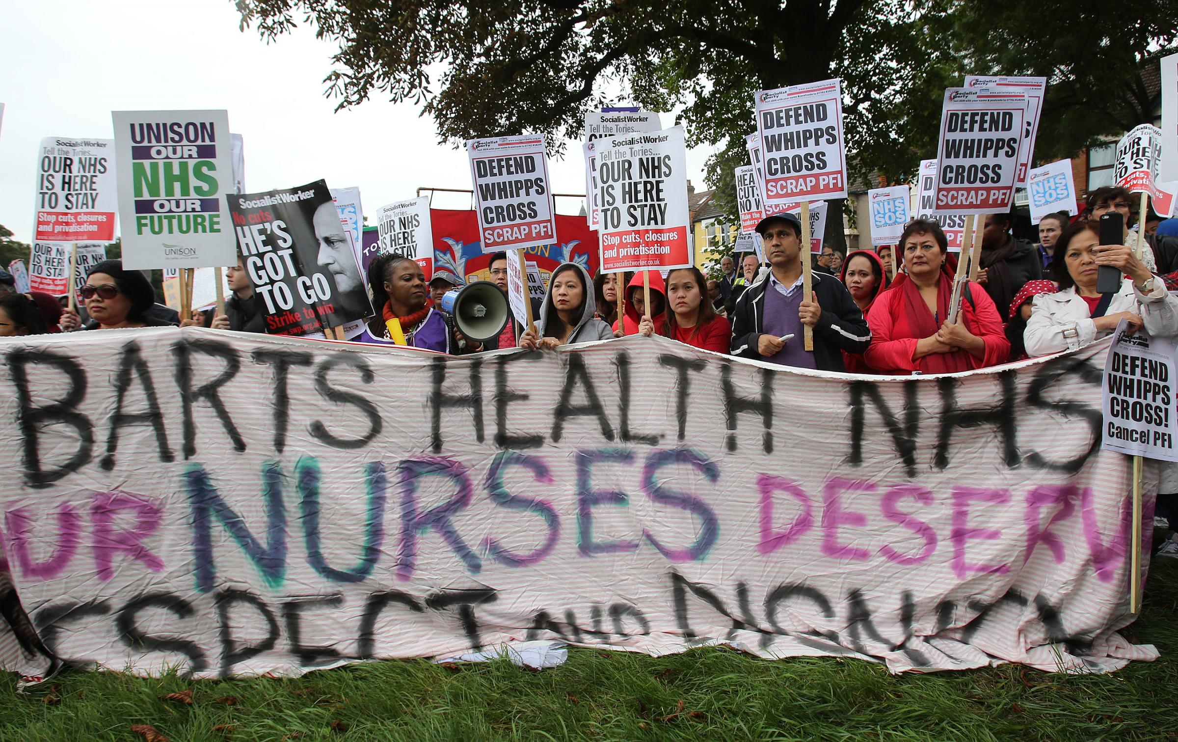 NHS staff at a Unison march at Whipps Cross Hospital in September 2013