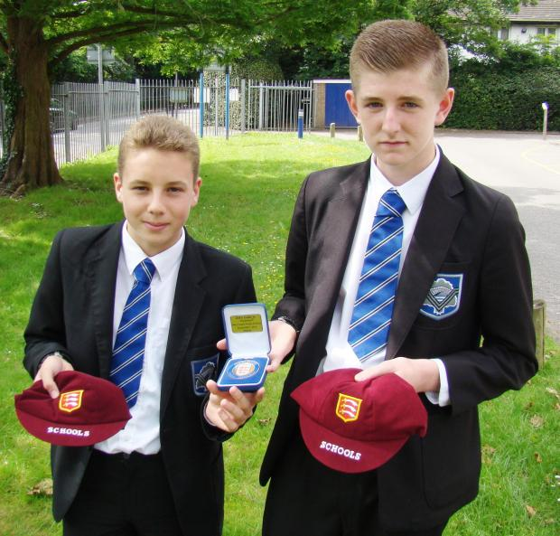 Harry Francis and Conor Tyrell with their Essex Schools football caps