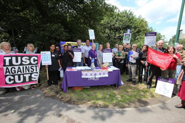 Union workers outside Whipps Cross Hospital