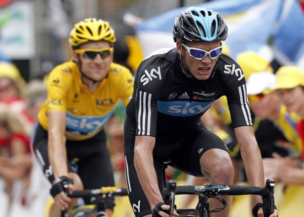 Left behind: Chris Froome leading Sir Bradley Wiggins. Picture: Action Images
