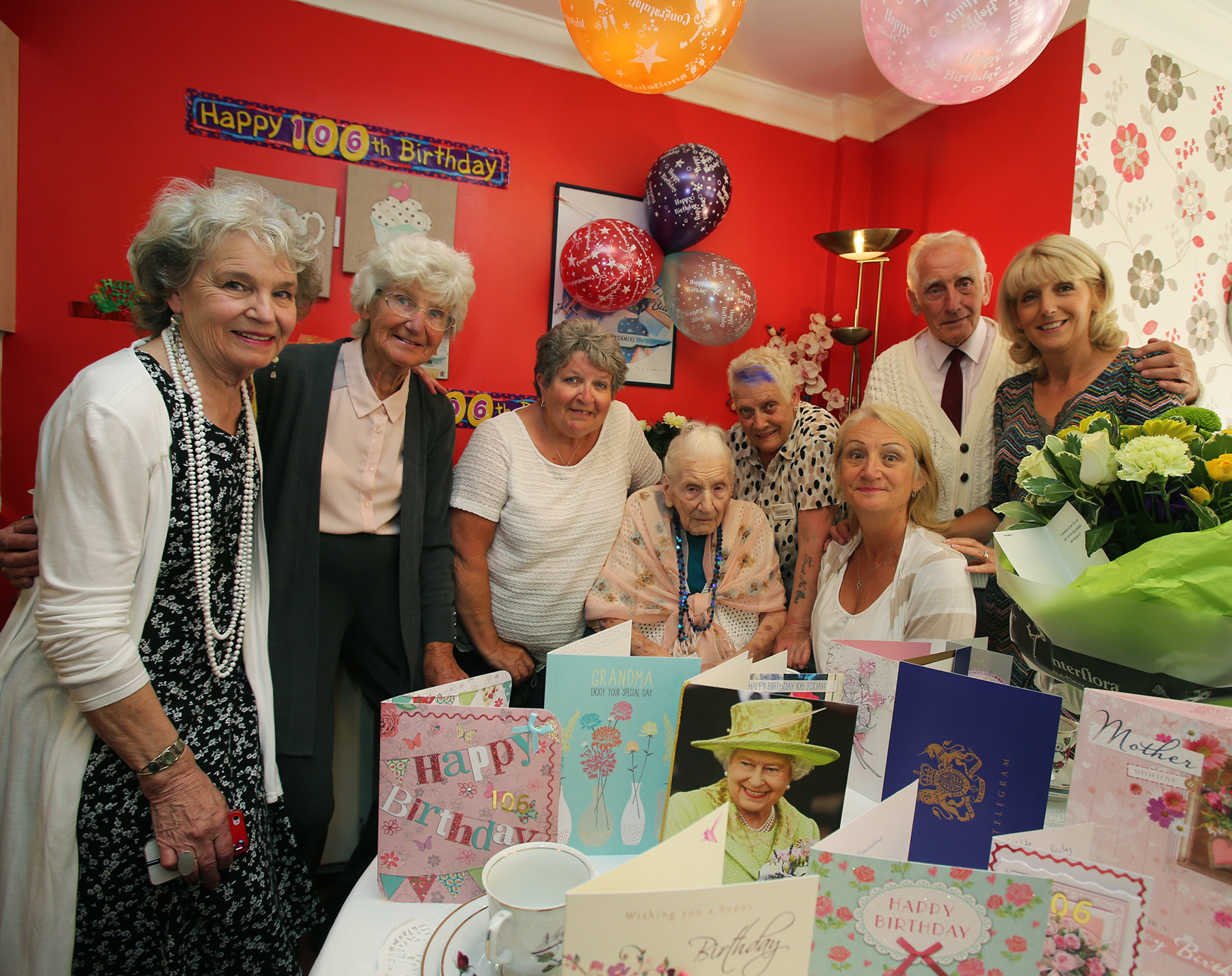 Hilda Davis celebrating her 106th birthday with family , friends and staff