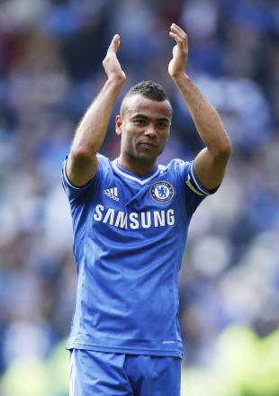 Ashley Cole applauds Chelsea supporters at the end of the season. Picture: Action Images