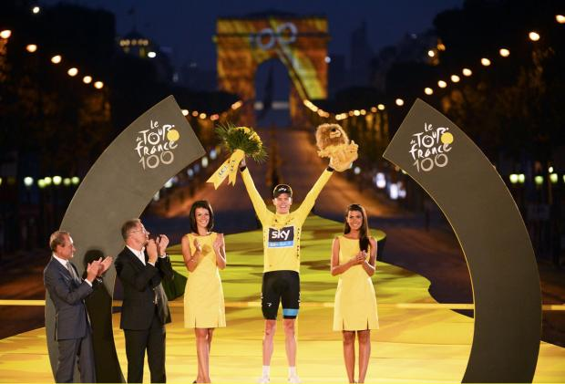 The king of Paris: Chris Froome celebrating his Tour de France victory last year. Picture: Action Images