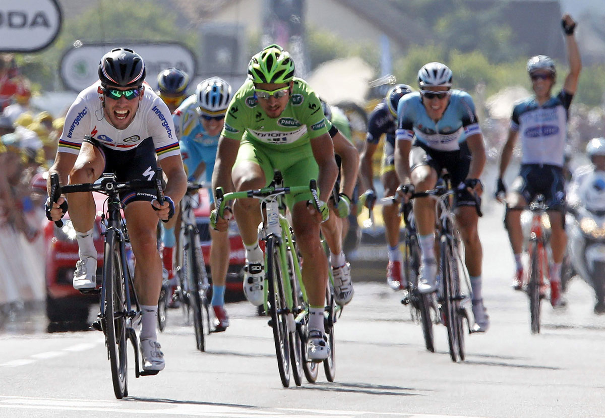 Mark Cavendish spring to victory in last year's Tour de France. Picture: Action Images