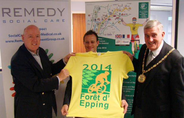 Logo designer Quentin Buller with Remedy Recruitment managing director Daniel Sugarman and Epping Forest District Council chairman Tony Boyce
