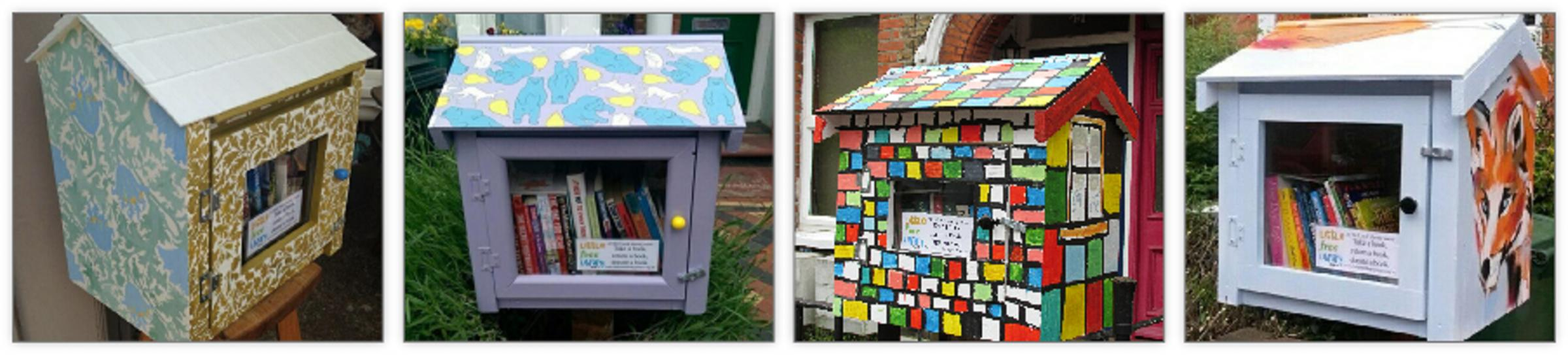 William Morris inspired Little Free Library by Julie Caves, Hare, Bear & Pear by Emma Russell, Cartoon Cat House Little Free Library by Tim Reedy, Urban Fox Little Free Library by Hannah Adamaszek