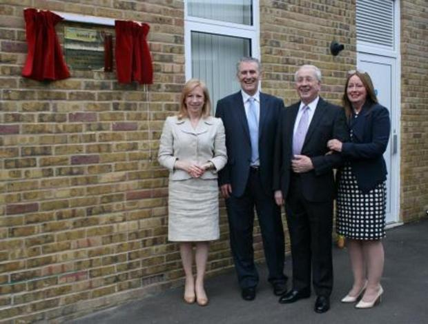 Raymond Warner (second from right) with Epping Forest MP Eleanor Laing, Hereward Primary School headteacher Matt Woolard and recently retired headteacher Geraldine Blair at the opening of the £1m building project at Hereward Primary School, Loughton
