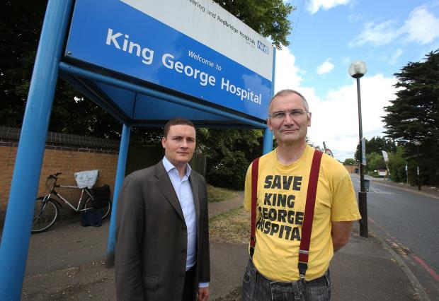 East London and West Essex Guardian Series: Labour's deputy leader of the council Wes Streeting and leader of the Save King George Hospital campaign, Andy Walker outside King George Hospital.