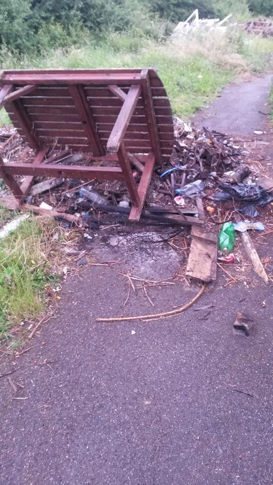 Fly-tip rubbish blocking footpath for almost a month