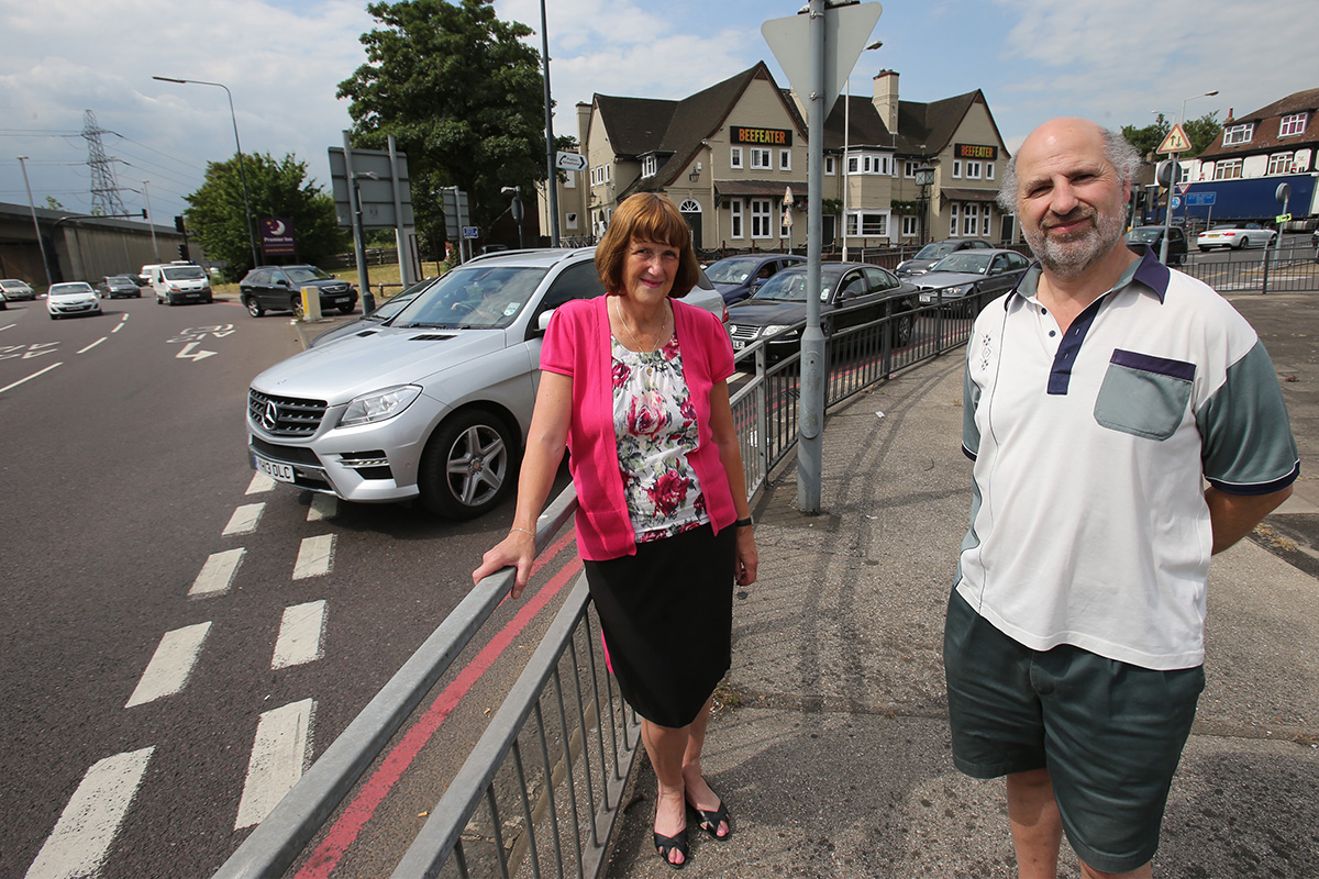 Angela Shea and Alan Haymes, members of Redbridge Roundabout Action Group