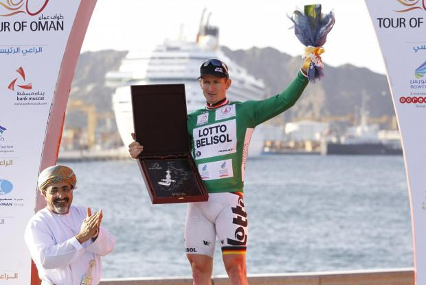 Andre Greipel celebrates winning the points classification at this year's Tour of Oman. Picture: Action Images