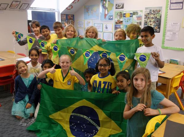 Students decked out in Brazilian colours for the day.