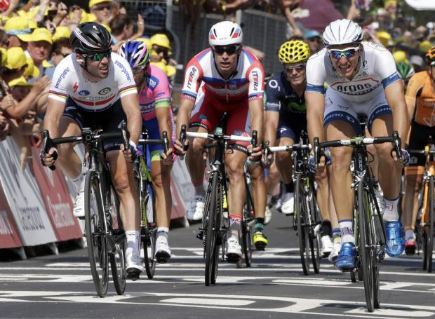 Head-to-head: Marcel Kittel, right, contests a sprint finish with Mark Cavendish in last year's Tour. Picture: Action Images