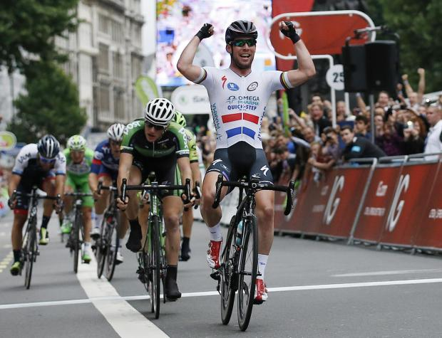 National champion jersey-wearing Mark Cavendish celebrates winning the final stage of last year's Tour of Britain. Picture: Action Images