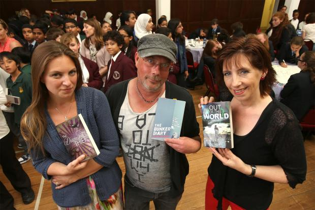 Authors Kevin Brooks, centre, with Sharon Gosling, left, and Ali Sparkes, right.