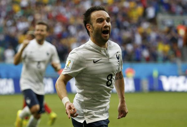 Mathieu Valbuena celebrates scoring against Switzerland for France. Picture: Action Images