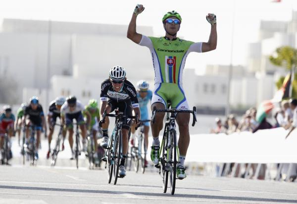 Peter Sagan celebrating a win in this year's Tour of Oman. Picture: Action Images