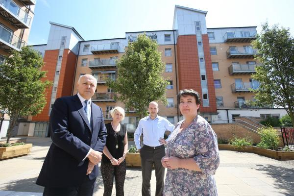 (from left) Woodford Green MP Iain Duncan-Smith, Cllr Emma Best, Cllr Tom McLaren and resident Irma Savukas