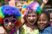 Pupils at Chapel End dress up in multi-coloured wigs to perform the charity dance
